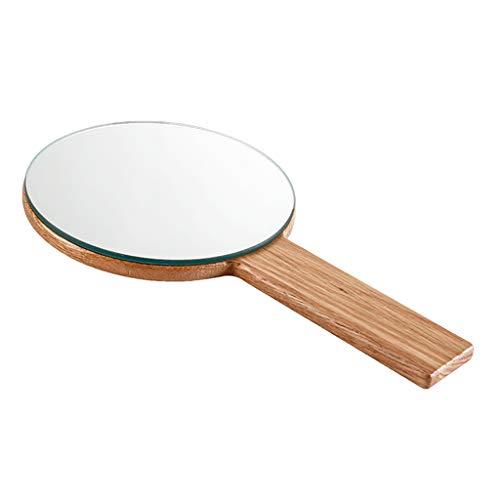 Miroir de Maquillage à Main Simple Miroir de courtoisie en Bois Massif à la Main HD poignée Miroir de Salon de beauté Portable Portable
