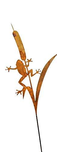 Bornhöft Gartenstecker Frosch Metall Rost Gartendeko Edelrost Rankstab 118cm rostige Deko für den Garten