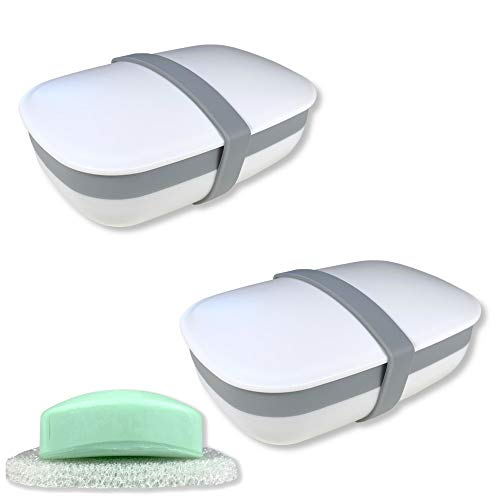 kiasona 2Pcs Travel Soap Box,soap Bar Holder Dish Container Case with Sponge saver&Silicone Band,Strong Sealing,Leak Proof,Portable,Best for Bathroom,Gym,School,Camping,Hiking,Vacation/White (Pack of 2)