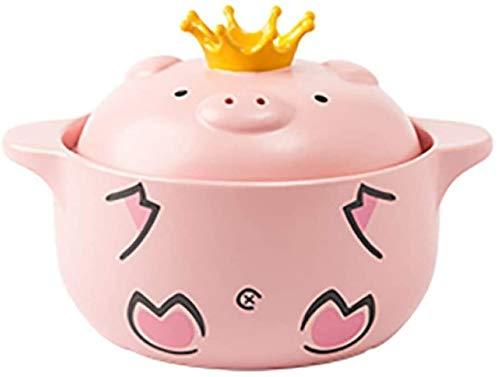Huoo Kasserollen Kasserolle mit Deckel Rosa Schwein Haushalt Gas Keramikeintopf Pot - Slow Kocher Keramikkocher Küchenbedarf (Color : Pink, Size : 1000ml)