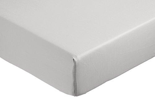 AmazonBasics - Sábana bajera ajustable (algodón satén 400 hilos, antiarrugas) Gris -...