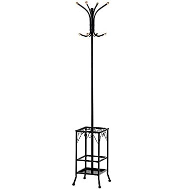 Topeakmart Coat Rack Umbrella Floor Stand Tree Hat Hooks Hangers Metal Black Furniture Home