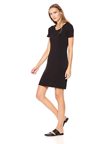 Daily Ritual Damen dresses Jersey Short-sleeve Scoop Neck T-shirt Dress, Black, S