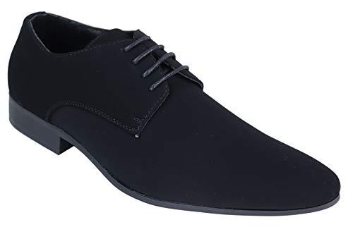 Chaussures Homme lacées Simili Daim Nubuck Noir Bout Pointu Style Chic Formel Tendance Classique - Noir 42 EU