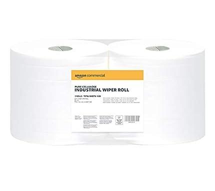 AmazonCommercial – Rollo de papel industrial de 2capas, 2unidades, 1630hojas