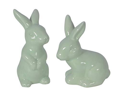 CHICCIE Juego de 2 Conejos de Pascua sentados Verde Menta nácar 10 cm, Conejo de Pascua, decoración de Pascua, Conejo de cerámica, Conejo de Pascua, decoración de Primavera