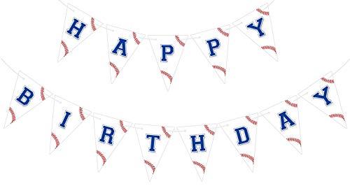 Bemoor Baseball Happy Birthday Banner, Pre-Strung Baseball Bday Party Sign, Pennant Bunting for Boy Men