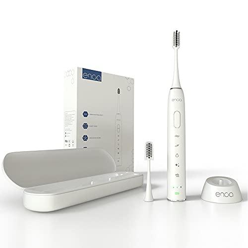 Spazzolino Denti Elettrico Ricaricabile con Tecnologia Sonica, 3 Livelli di Intensità e 5 Programmi, Smart Timer, 2 Testine, Custodia da Viaggio