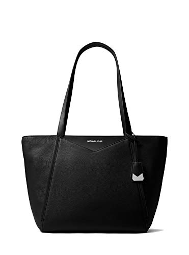 Made of durable black pebble Leather Measures approx. 17 inch (W) x 11 inch (H) x 6 inch (D bottom) Silver-tone hardware. Front hidden slip pocket. Signature charm. MK Double handles with 11 inch drop. Secure zipper top closure; fully lined interior ...
