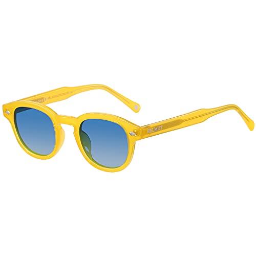 occhiali da sole uomo carfia H HELMUT JUST Occhiali da Sole Donna Uomo Lenti Sfumate Blu Montatura Giallo Rotondi Vintage Polarizzati Piccola