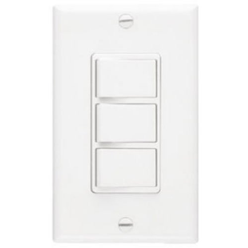 Broan-NuTone 66W NuTone Ventilation, Independent Switches for Heaters and Fans, 15 Amp, 120V, White Three-Function Wall Control, 20