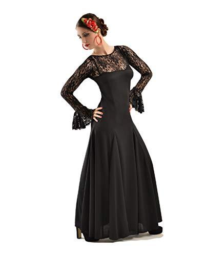 Anuka Traje Profesional de Danza Flamenco para Mujer. Vestido con Manga y Escote a la Caja en blonda elástica. Fabricado en España (Negro/Negro, XL)