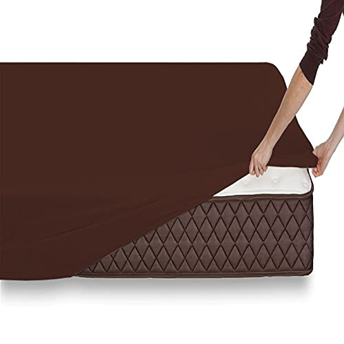 Sábana Bajera Ajustable de Microfibra cepillada Extra Suave - 30 cm de Altura Medidas (Chocolate, 150_x_200_x_30 cm)