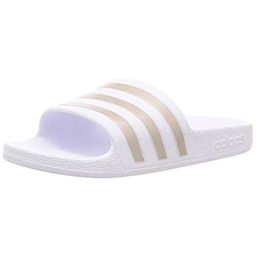 adidas Adilette Aqua, Ciabatta Unisex-Adulto, Bianco (Ftwr White/Platin Metallic/Ftwr White), 38 EU