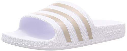 Adidas Unisex Erwachsene Adilette Aqua Dusch-& Badeschuhe, Weiß (Footwear White White/Platin Metallic/Footwear White White), 42 EU