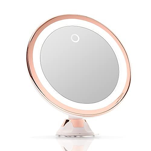 Fancii Espejo Maquillaje de Aumento 10x con Luz LED Natural, USB y Pilas - Espejo Iluminado de Baño para Cosmético, Poderoso Ventosa, 20 cm de Ancho - Luna (Oro Rosa)