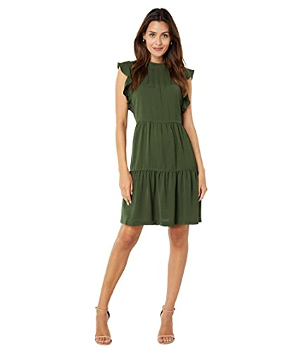 London Times Washer Twill Mock Pin Tuck Tiered Trapeze Dress Olive 10