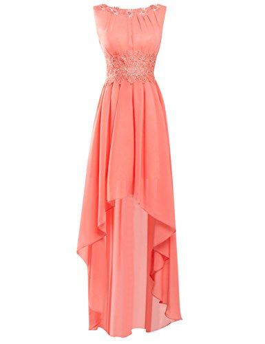 Brautjungfernkleider Elegant Damen A-Linie Abendkleider Standesamtkleid Ballparty Lang Ärmellos Brautmode Koralle 40