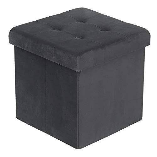 pouf contenitore velluto grigio WOLTU Sgabello Pieghevole Sedia a Cubo Pouf Cassapanca Poggiapiedi Panche Contenitore con Coperchio Rimovibile in Velluto MDF Grigio SH69gr