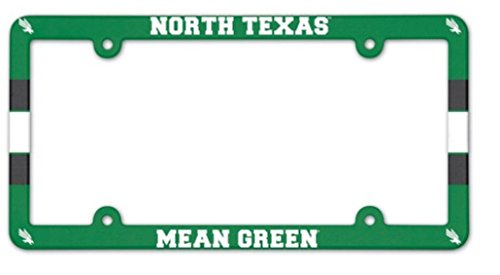 WinCraft NCAA University North Texas Mean Green 6x12 inch Full Color Plastic License Plate Frame