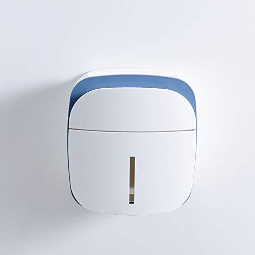 ZYJ Toilettenpapierspender, halbautomatischer Mehrzweck-Tissue-Karton ohne Spuren Frei hängender Toilettenpapierspender,Blue