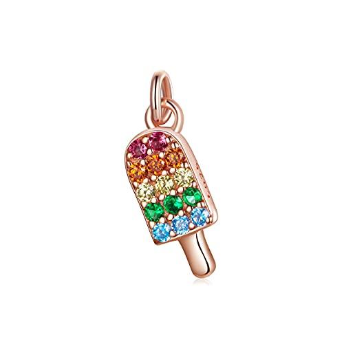 NewL 925 Cono de helado de plata de ley con cuentas de perlas de joyería de arco iris colorido cono de helado para pulsera y collar de fabricación de joyas de artesanía