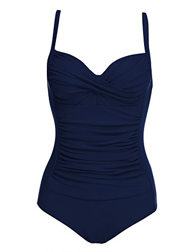 Ekouaer Vintage One Piece Swimsuits Women Push Up Bathing Suits with Fold, Navy Blue, X-Large