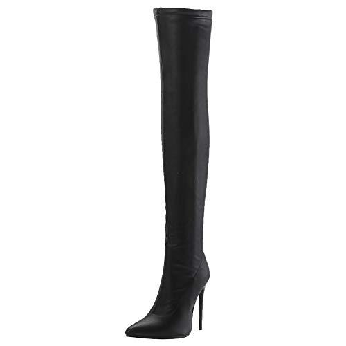 PIXIEFOOT Damen Stretch Overknee High Heels Stiefel Stiletto Spitz Thigh Boots 12cm Absatz Elegante Schuhe