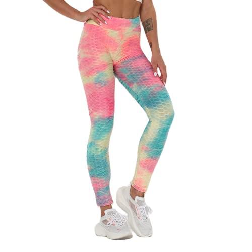QTJY Pantalones de Yoga Deportivos con Levantamiento de Cadera de Cintura Alta para Mujer, Leggings de Yoga Push-up de Color, Leggings para Correr de Secado rápido y Estiramiento EM