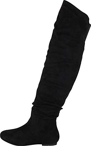 Nature Breeze Women's Stretchy Thigh High Boot Black 10