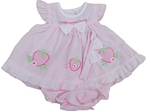 avec étiquettes. Bébé Filles Été Fruits Robe Tenue Culotte & Bandeau - Rose - 4-6 ans