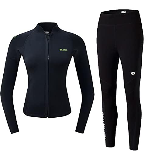 CJF 2 piezas de moda sastrería de neopreno de 2 mm para mujer, traje de buceo de cuerpo completo para caza, pesca, traje de baño térmico, L negro