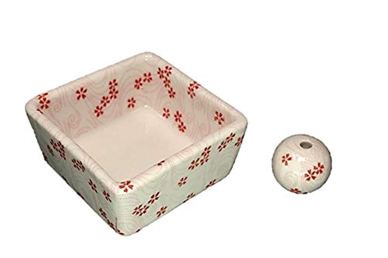 陽気な田舎者集計和モダン 桜渦 お香立て 陶器 角鉢 製造直売品