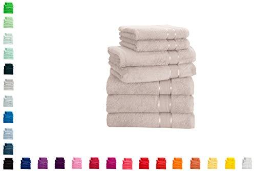 Mixibaby Juego de toallas de mano, toalla de ducha, toalla de sauna, algodón, 7 piezas, color: beige
