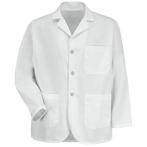 Red Kap Men's Notch Collar Lapel Counter Coat, White, X-Large