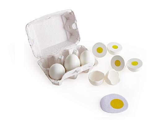 Hape Huevera de Cartón, 3 Huevos Duros con Cáscara Fácil de Pelar y 3 Fritos, Juguete Educativo Realista de Madera para Niños y Niñas a Partir de 3 Años
