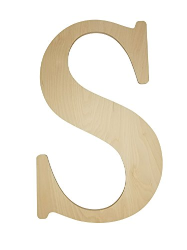 """Unfinished Wooden Letter for Wedding Guestbook or Wall Decor (24"""") (Letter S)"""