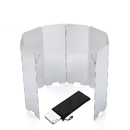 Energystation Faltbare Windschutzscheibe,Campingkocher Windschutzscheibe mit 9-Lamellen aus Aluminium für Campingkocher, Gaskocher (Grau)