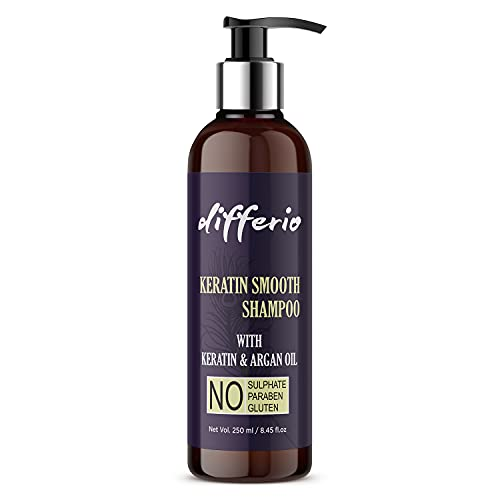Differio Keratin Smooth Shampo With Keratin And Argan Oil For Strong, Smoother And Shinier Hair   Sulphate and Paraben free Shampoo for Dry, Frizzy and Damaged Hair- 250ML