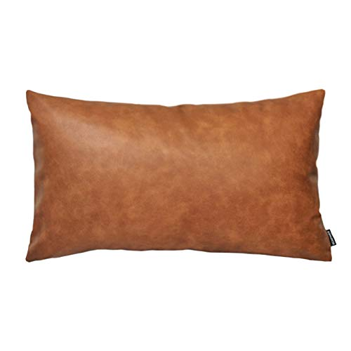 HOMFINER Faux Leather Lumbar Throw Pillow Cover 12x20 Decorative Bedroom Living Room Modern Boho Accent Rectanglar Cognac Brown Small Cushion Case for Bed Sofa Couch