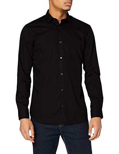 JACK & JONES Jprnon Iron Shirt L/s Noos Camicia Formale, Nero (Black Fit:Slim Fit), Large Uomo