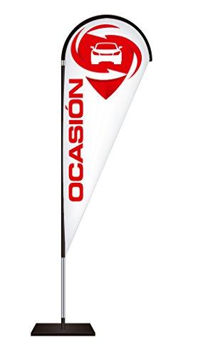 Fly Banner Tipo Gota Automoción | Banderola publicitaria | Talla S Medidas totales: 68x200cm (ancho x alto) | Banderola publicitaria tipo Fly banner talla S | Varios Colores | Blanco y texto rojo |