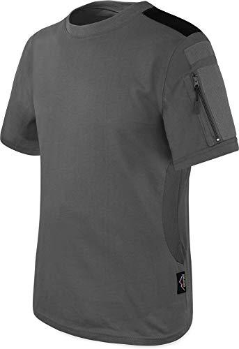 T-Shirt BDU Tactical Kurzarm Kampfshirt mit Klettflächen, Reißverschlusstaschen am Arm und seitlicher MESH-Einsatz - Combat Short Sleeve Farbe Grau Größe 3XL