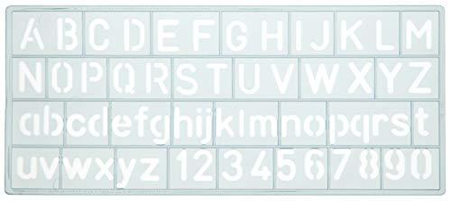 Westcott 1061000–Plantilla (, minúsculas, mayúsculas y números, 10mm), color azul claro