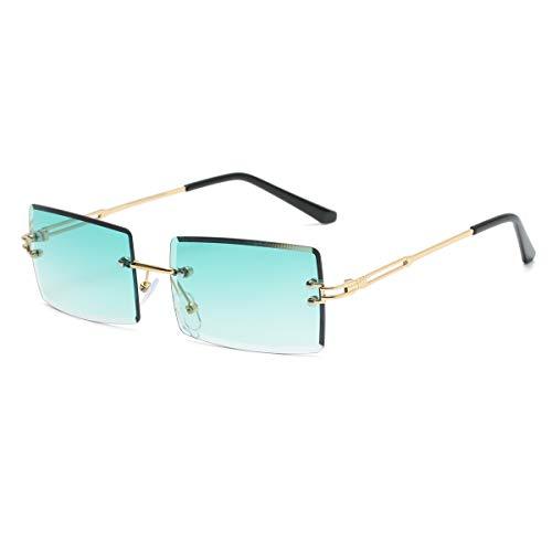 Yojued Rechteckige Retro-Sonnenbrille für Damen und Herren, Mode, Vintage, kleine quadratische Brille, randlos, Rahmen, getönte Gläser, UV400 Schutz, Klassisch, Grün