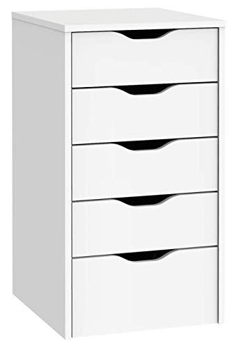 Miroytengo Cajonera EKO Color Blanco 5 cajones Buck despacho Oficina Estudio Estilo Moderno Mueble 71x40x43 cm