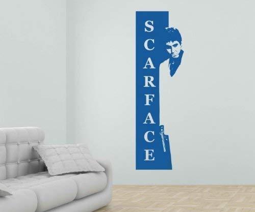 myDruck-Store Wandtattoo Scarface Al Pacino, Tony Montana Aufkleber Promi Film Sticker 1T010, Farbe:Flieder Glanz;Hohe:45cm