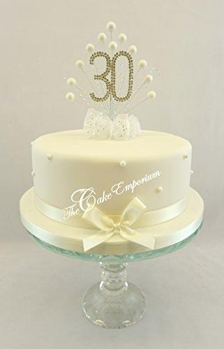 Karen's Cake Toppers Décoration perle Burst Vaporisateur Diamante 30e anniversaire Perle Ivoire