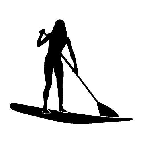 Juego de 1 pieza de pegatinas de PVC para coche, para mujer, esquí acuático, tabla de surf, pegatinas para coche, pegatinas para parachoques de vidrio para ventana de coche, color blanco plateado _1