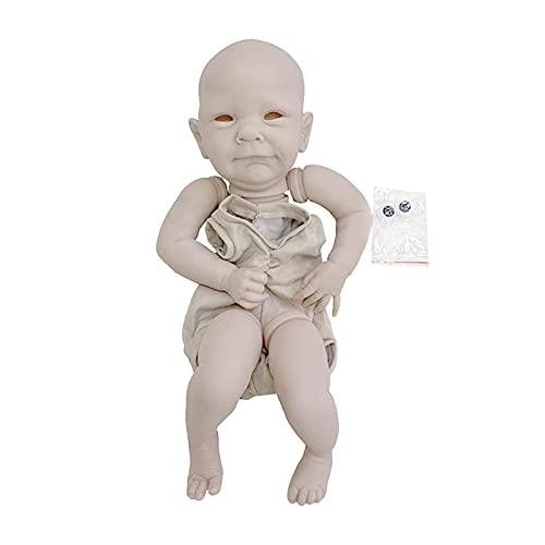 POHOVE 19 pulgadas Reborn Doll Kits sin pintar Vinyl Doll Kit Reborn Baby Doll Kit en blanco DIY Reborn Toddler Doll Kits Realista DIY Muñeca DIY Incluye cabeza, manos, piernas, cuerpo de tela y ojos